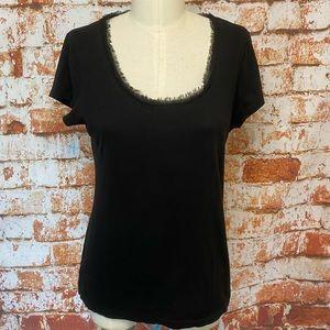 LOFT short sleeve t shirt scoop neck chiffon med